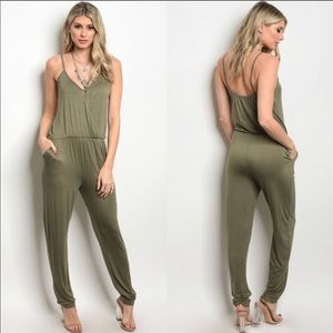 New!! Olive Green Jersey Jumpsuit 💚